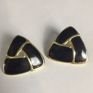 Monet black and gold pierced triangle earrings